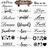 22 PCS Stencils for Painting on Wood Reusable, Welcome DIY Plastic Art Cursive Letter Stencil Templates Set for Decor Home Wall Door Porch Signs (14 inch)