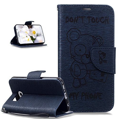 Coque Galaxy S6,Etui Galaxy S6,Gaufrage Tronçonneuse ours Don't Touch Py Phone Housse Cuir PU Etui Housse Coque Portefeuille Protection supporter Flip Case Etui Housse Coque pour Galaxy S6,Bleu marin