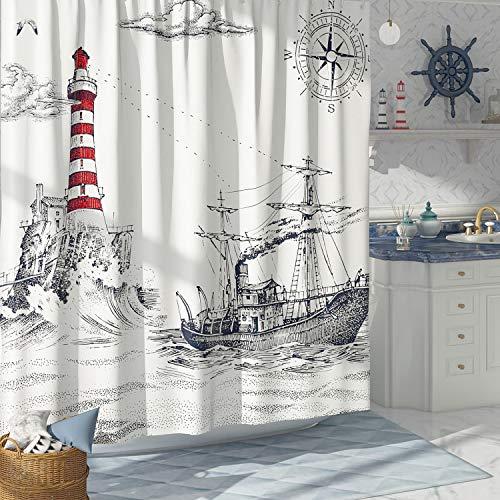 DESIHOM Schwarzer & weißer nautischer Duschvorhang für Kinder, Vintage-Stil, Segelboot, Leuchtturm, Duschvorhang, coole Duschvorhänge, Piraten-Dekor, Polyester, wasserdicht, 183 x 183 cm