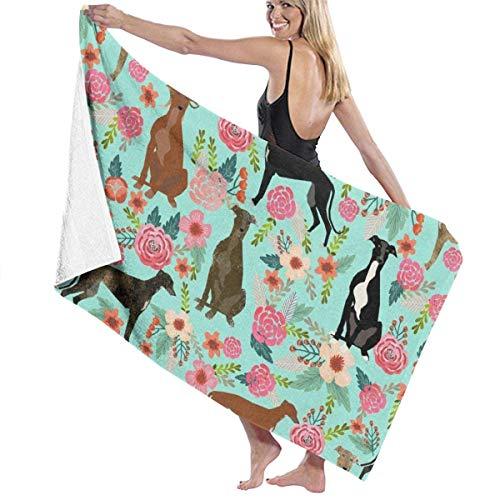 Toallas Bathroom Towels Toalla De Baño Galgo Floral Lindo Perro Menta Vintage Shower Towels 80X130CM