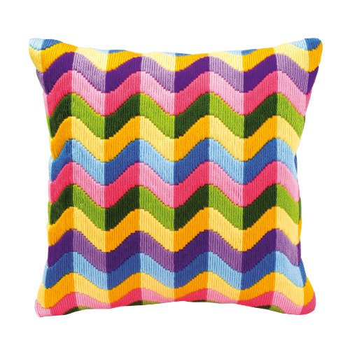 Vervaco Bold Geometric Style Long Stitch Cushion Kit 2, Multi-Colour