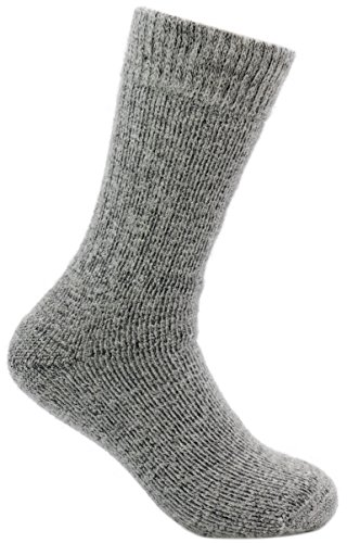 DARN WARM ANTI-SMELL Alpaca Socks - BEST NATURAL SOLUTION for COLD FEET - Perfect for OUTDOOR Activities (LARGE - Boot Ultra Thick Thermal, Light Gray and Black Marled)