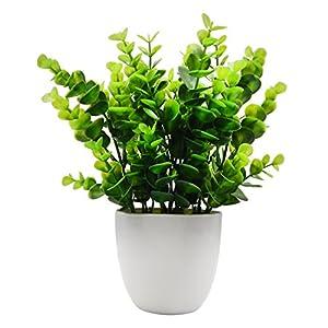 Silk Flower Arrangements OFFIDIX Artificial Plants Mini Plastic Eucalyptus Potted Plants for Home Office Decoration, Faux Plastic Plant with Black Plastic Pots, Fake Plant for Bathroom Decor