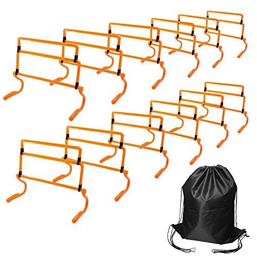 ハードル陸上 トレーニングハードル 陸上競技 トラック競技 高さ調節可能 12個セット 収納バッグ付き (オレンジ)