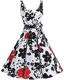 Bbonlinedress Vestidos de 1950 Estampado Vintage Retro Cóctel Rockabilly con Lazo RedFlower XL