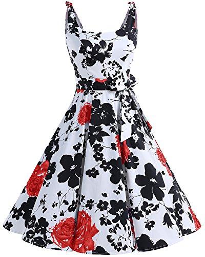 Bbonlinedress 1950er Vintage Polka Dots Pinup Retro Rockabilly Kleid Cocktailkleider RedFlower M