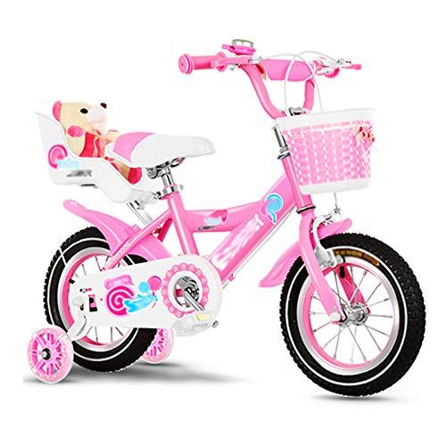 Bicicleta para niños Caixia Bicicleta Rosa Acero Bicicleta de Ciudad 12, 14, 16, 18 Pulgadas Asiento Ajustable Rueda Blanca/Negra con estabilizador (Size:12 Inch,Color:A)