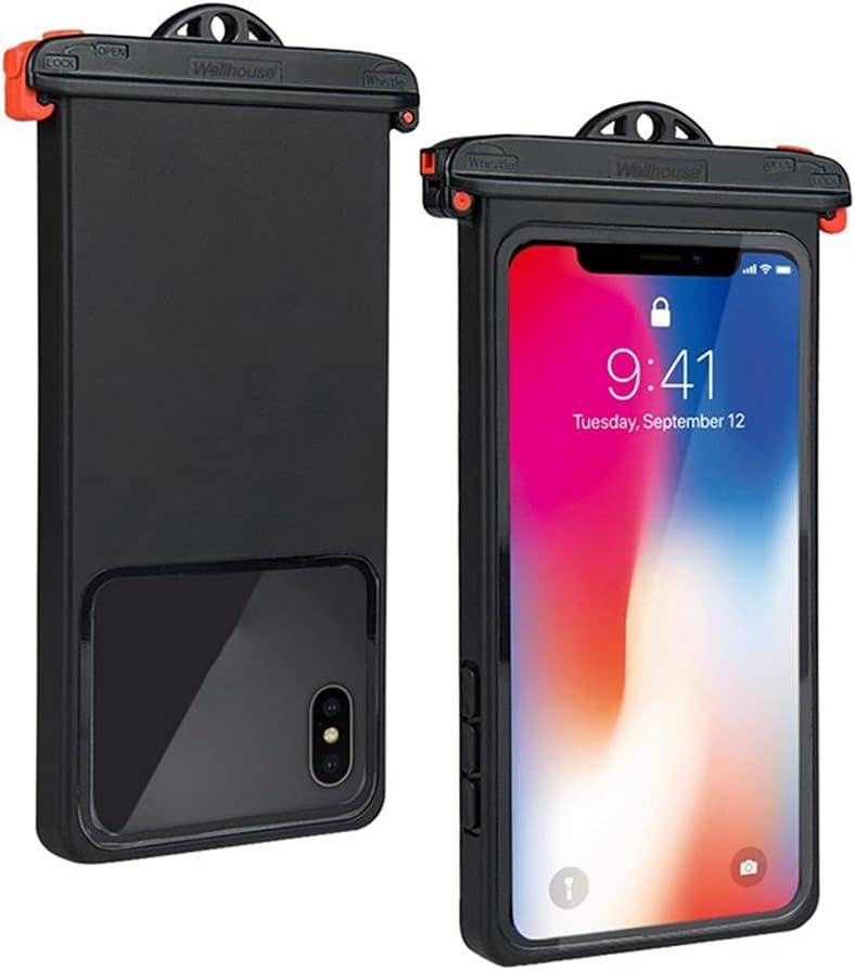 Egdu Universal Waterproof Pouch, IPX8 Waterproof Cellphone Dry Bag Underwater Case,Underwater Clear Phone Case Dry Bag with Lanyard Compatible,Black