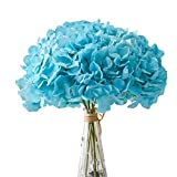 Aviviho Hydrangea Silk Flowers Heads Pack of 10 Full Hydrangea Flowers Artificial with Stems for Wedding Home Party Shop Baby Shower Decor (Tiffany Blue)