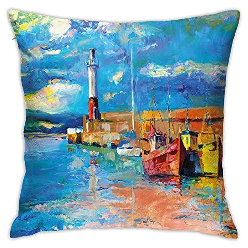 qidong Fundas de cojín decorativas, con tonos de pintura al óleo, estilo faro y barcos en la costa de la ciudad, con encanto costero, funda de almohada para el hogar, sofá, dormitorio, 18 y 18