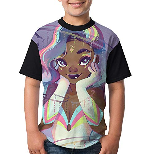 OIVLA Jugend Black Girl African American Girl Love Music Casual 3D Pattern Printed Kurzarm T-Shirts Top Tees