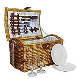 El Newgrove 2persona cesta de Picnic–Mimbre De Lujo Sábana Bajera ajustable cesta con accesorios y correa de hombro–Ideas de regalo para Navidad, cumpleaños, boda, aniversario