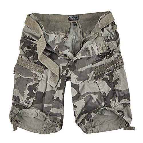 Geographical Norway People - Pantalón corto para hombre Grey Camo L