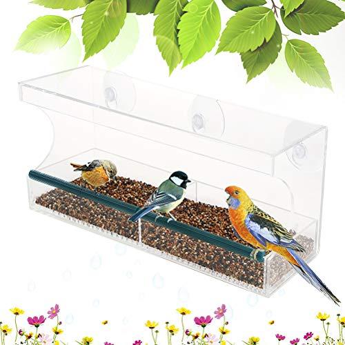 Venster, vogelhuisje, voederdispenser van kunststof, voederstation, transparant, met 3 zuignappen voor wilde vogels, 30 x 10 x 14 cm