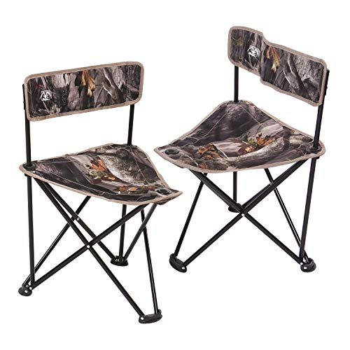 REDCAMP 2-Pack Tripod Hunting Chairs for Blinds, Portable Folding Hunting Stool with Back, Camo Fishing Chair for Camping Hiking