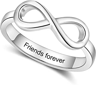 Personalized Infinity BFF Friendship Rings Free Engraving for Women Customized Sisters Rings for Friends Name Promise Rings for Women