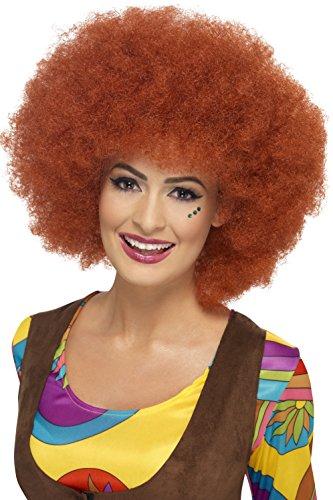 Smiffys, Dames jaren 60 Afro pruik, One Size, Roestbruin, 43253