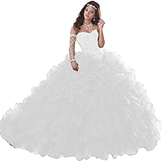 Women's Organza Ruffle Quinceanera Dresses Prom Ball Gowns for Sweet 16