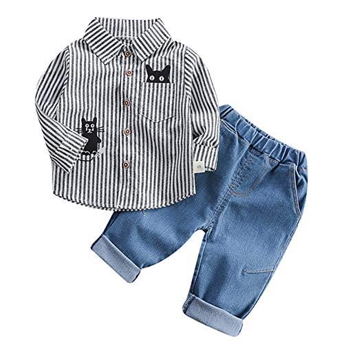 Gyratedream Herfst Kinderen Baby Jongens Casual Lange Mouw Gestreepte Kat Print Shirt Blouse Topsen+Denim Broek Broek Set
