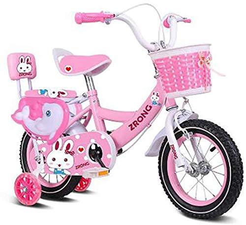 LSZ 12 14 Pulgadas de barandilla de Acero de Alto Carbono con Respaldo con Ruedas de Entrenamiento Pedal for niños Bicicleta Bicicleta Ajustable Chica Bicicleta para niños (Color : Pink, Size : 12)