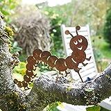 ecosoul Gartendeko Tausendfüßler mit Dorn Schraube zum Befestigen Baumtier Metall Rost Deko