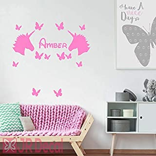 Unicorn with Butterfly Personalised wall stickers, vinyl Wall decal for girls room, personalised baby girls nursery Unicorn sticker, girls bedroom wall stickers names and butterfly, Nursery name stickers