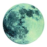 Moonlight Glow in the Dark Moon Wall Decal Sticker Decorative Removable Wall Decals Stickers, STRONG ADHESIVE VINYL 0.43 mm thickness for Bedroom and Children's Room 8 inch diameter, (20 cm)