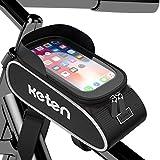 Keten Bolsa Bicicleta Manillar, Bolsa Impermeable Manillar con Pantalla Táctil, Parasol, Funda para Bicicleta de Gran Capacidad para iPhone Samsung y Otros Teléfonos de Menos de 6.5'