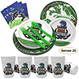 Football Party Supplies Disposable Tableware Set-Includes Plates,Cutlery,Cup,Napkins (Serves 24) for Football Theme Party or Super Bowl Party