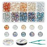 AHANDMAKER Cuentas Redondas de Cristal de Murano, 250 Pieza de Cuentas de Vidrio Galvanizadas de 10 Colores con 2 Rollos de Hilo de Cristal Elástico Y Pinzas, para Accesorios de Collar de Pulsera