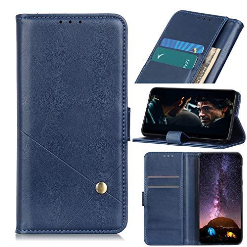 LMFULM® Hülle für VIVO NEX 3S 5G (6,89 Zoll) PU Leder Hülle Magnet Brieftasche Lederhülle Individualität Style Stent-Funktion Schutzhülle Flip Cover Blau