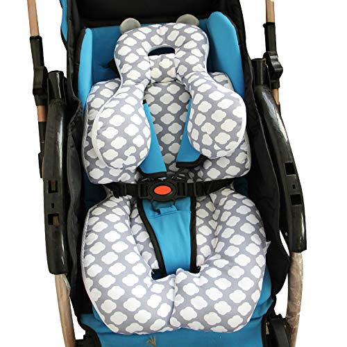 AIPINQI Head and Body Support Pillow with Neck Support for Baby Car Seat and Strollers, Cloud