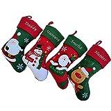Jia Hu - Calcetín de Navidad con bordado personalizado para decoración de renos tradicionales