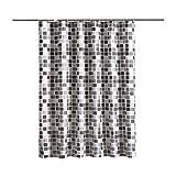 Cortina de Ducha Mosaico Estampado Grueso Impermeable Moho Prueba Poliéster Baño Cortinas Bañera Cortinas con Ganchos Mosaico 100 * 200 cm