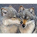 Pintar por números - Lobo de Nieve Animal - Lienzo de Lino Pintura al óleo Pintura de Arte Moderno - Kit de Pintura de Bricolaje Adecuado para Adultos y Principiantes - 40x50cm - Sin Marco