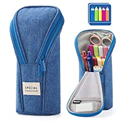 【Large Storage】Upgraded size 8.86 x 3.74 x 2.17 inches, the pencil case can store about 10-25 slim pens and other small items. It is large enough to hold up to 20cm(7.87inch) rulers, dual brushes. 【Standing Design】Come with stand-up design, make the ...