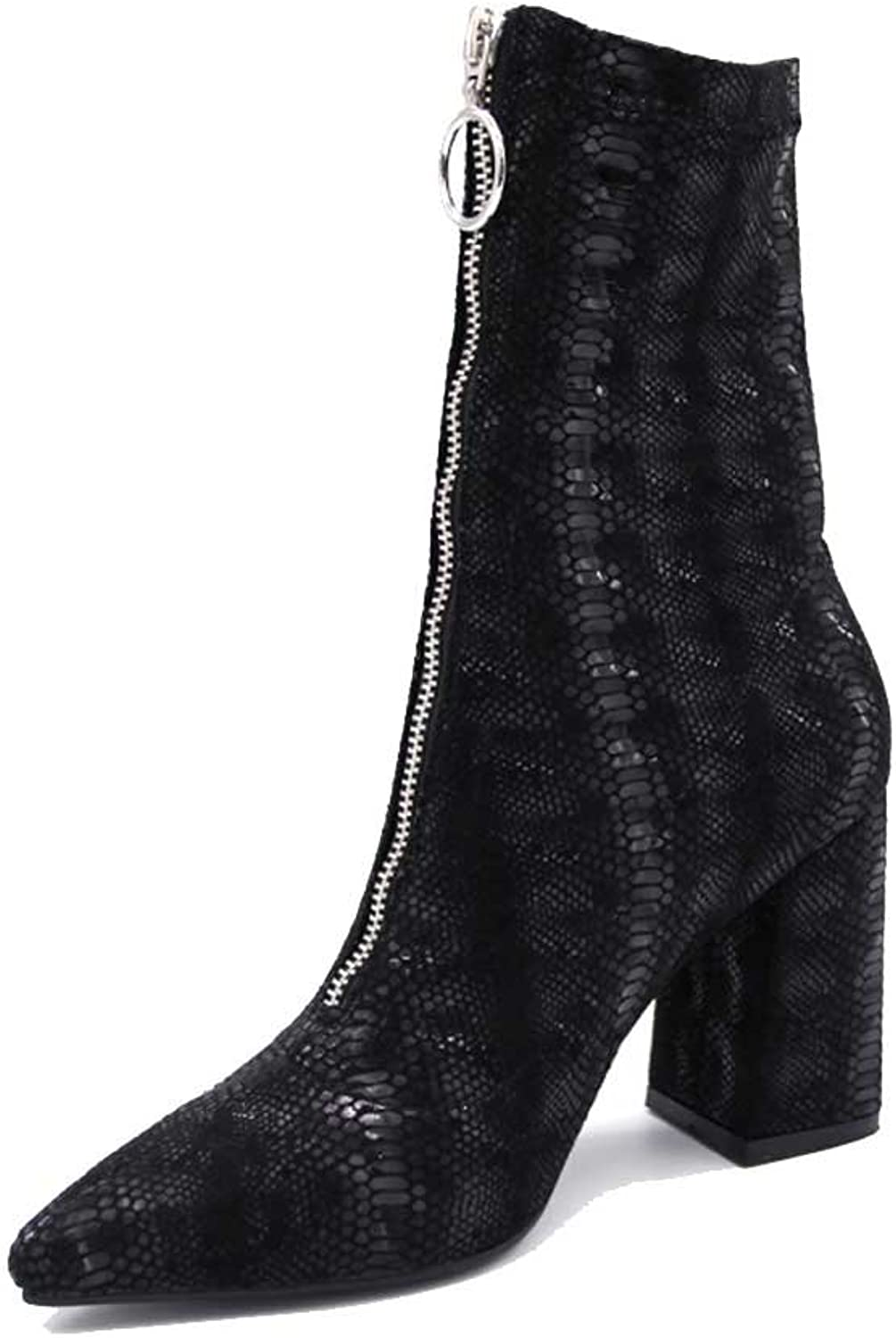 A-BUYBEA Women's Casual Pointed Toe 3.54  Chunky High Heel Croc-Embossed Front Zipper Boots shoes 4.5-10.5