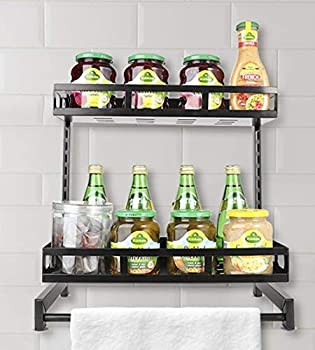 Lackingone 2 Tier Wall Mount Kitchen Spice Rack Shelf