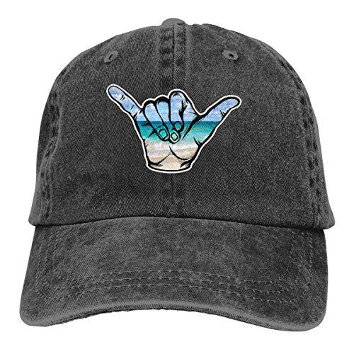XCNGG Hängen Sie lose Strandszene Shaka Unisex Cowboyhüte Sport Denim Hut Mode Baseball Cap Black