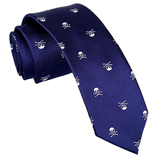 Alizeal Corbata con Patrón de Cráneo para Hombre,Ideal para Fiesta de Halloween,Azul Marino