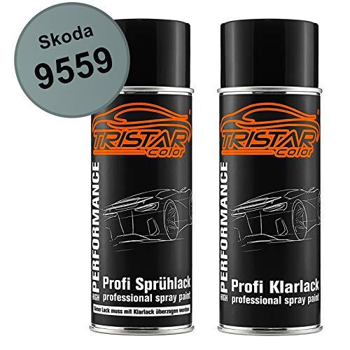 TRISTARcolor Autolack Spraydosen Set für Skoda 9559 Arctic Green Metallic/Arctic Breeze Metallic Basislack Klarlack Sprühdose 400ml