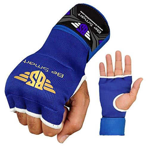 BeSmart PRO Gel Inner Hand Wraps Gel Gloves Boxing Fist Padded Bandages MMA Gel Thai (Blue, Medium)