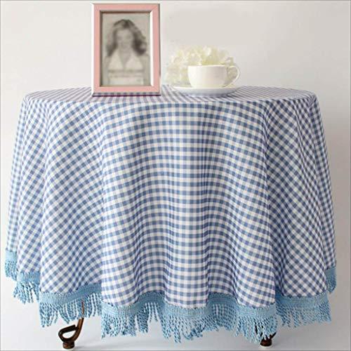 Fluweel tafelkleed rond van katoen en linnen, voor hotel, tafelkleed, tafelkleed, tafelkleed, plaid, placemats, restaurant in het vest 140 * 180cm Blauw
