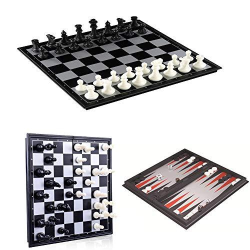 XIUWOUG Tablero ajedrez Magnético 3 in 1,ajedrez De PVC,Tablero De Juego De ajedrez De Viaje De Almacenamiento Interior Plegable Portátil Juego De ajedrez De Rompecabezas,Negro,50x20cm