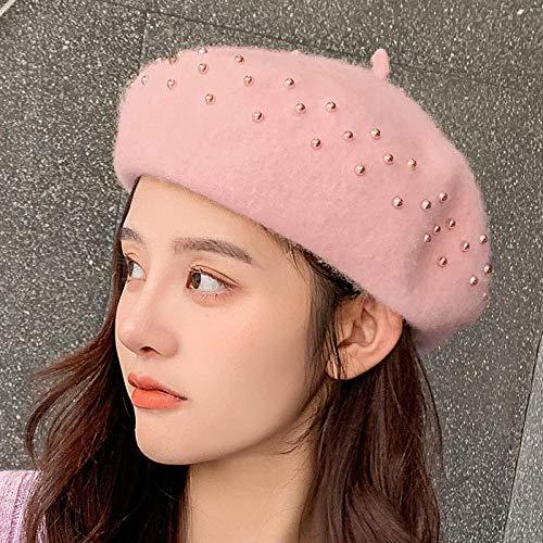 Boinas Gorro Boinas De Mujer Taladro Sombreros De Color Sólido Gorras De Gorro para Mujer Otoño Invierno Cálido Sombrero para Caminar Gorra Casquette-Light_Pink_One_Size