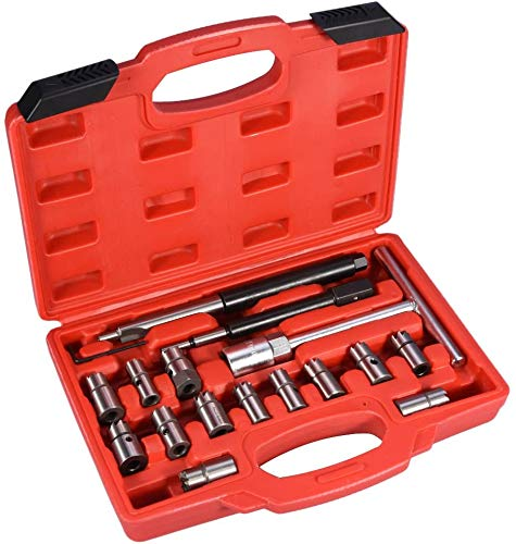 Ejoyous 17-TLG Diesel Injektor Auszieher Injektoren Abzieher Werkzeug CDI Universal Einspritzdüsen, Injektor Fräser Diesel Dichtsitz Fräser Satz Werkzeug Set Einspritzdüsen