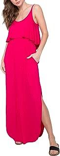 Thebaid Women's Boho Casual Sleeveless Summer Beach Maxi Long Dress Flounce Tank Dress with Pockets, Made in USA