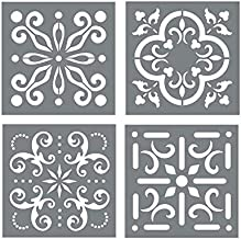 Mexican Tile Stencil Set - Pack of Four 8x8 Tile Stencil Designs for Painting - Wall or Floor Tile Stencil Designs - for Making Mosaic Tile Stencil Patterns