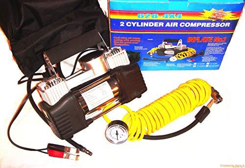 LCM2014 Puissant COMPRESSEUR 12V BICYLINDRE 12V 5M3/H Compact Facile A ENCASTRER ! Sacoche ET Accessoires FOURNIS ! Raid Preparation 4X4