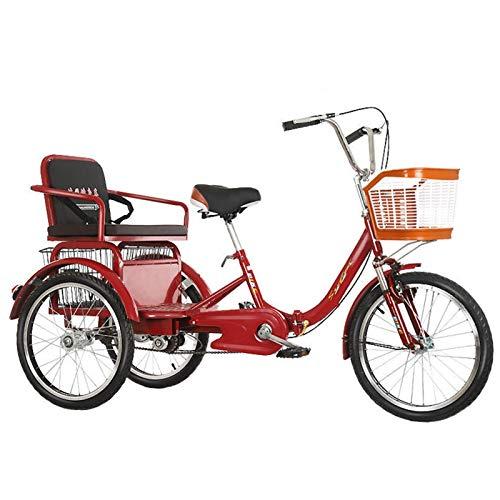 ZFF Triciclos para Adultos 20 Pulgadas Bicicleta De Tres Rueda con Cesta De La Compra Y Asiento Trasero Horquilla De Suspensión para Personas Mayores Mujeres Hombres (Color : Red)